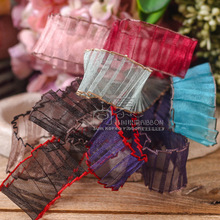 100yards 25mm 40mm colorful edge wrinkle waved face organza sheer ribbon for bouquet flower packing bow hair diy accessories