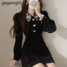 Gaganight – Mini robe courte à manches longues pour femme, tenue Chic, Vintage, broderie de fleurs, moulante, en velours, à la mode