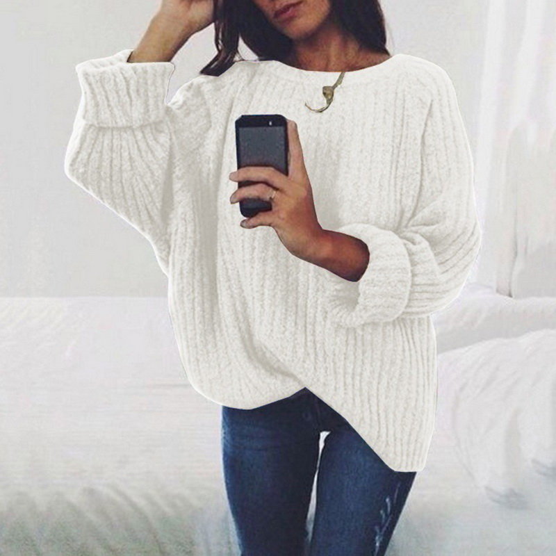 Knitted Sweater Female Pullover Loose Winter Fashion Plus-Size Women Ladies O-Neck Solid