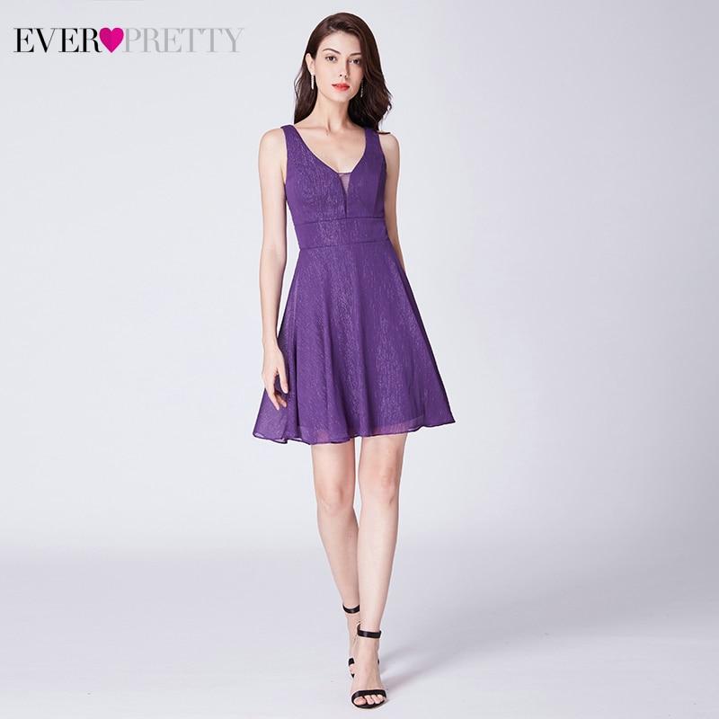Dark Purple Homecoming Dresses Ever Pretty EP03027DP A-Line Double V-Neck Sleeveless Short Graduation Dresses Vestidos Cortos