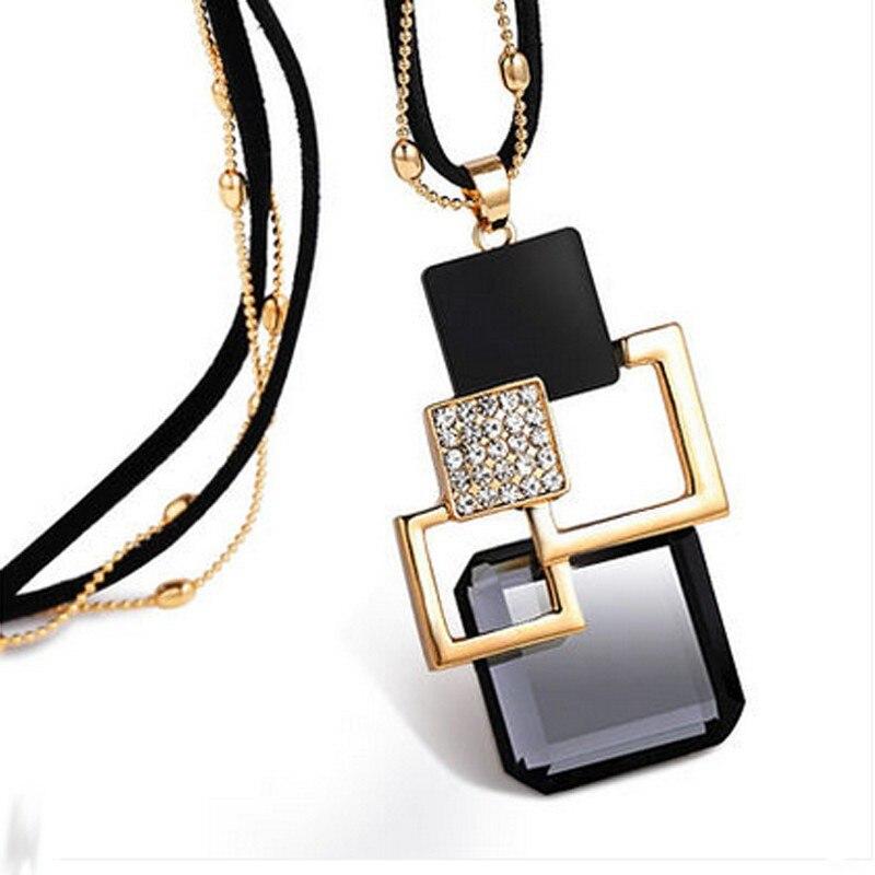 BYSPT longs colliers et pendentifs pour femmes Collier Femme géométrique déclaration Colar Maxi mode cristal Bijoux Bijoux 4