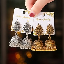 Boho Afghan Ethnic Drop Earrings For Women Pendient Gold Gyspy Silver Color Bell Ladies Indian Earring Jewelry