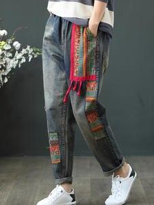 Women Jeans Trousers Pants Harem Vintage Patchwork Denim High-Waist Casual Spring Loose