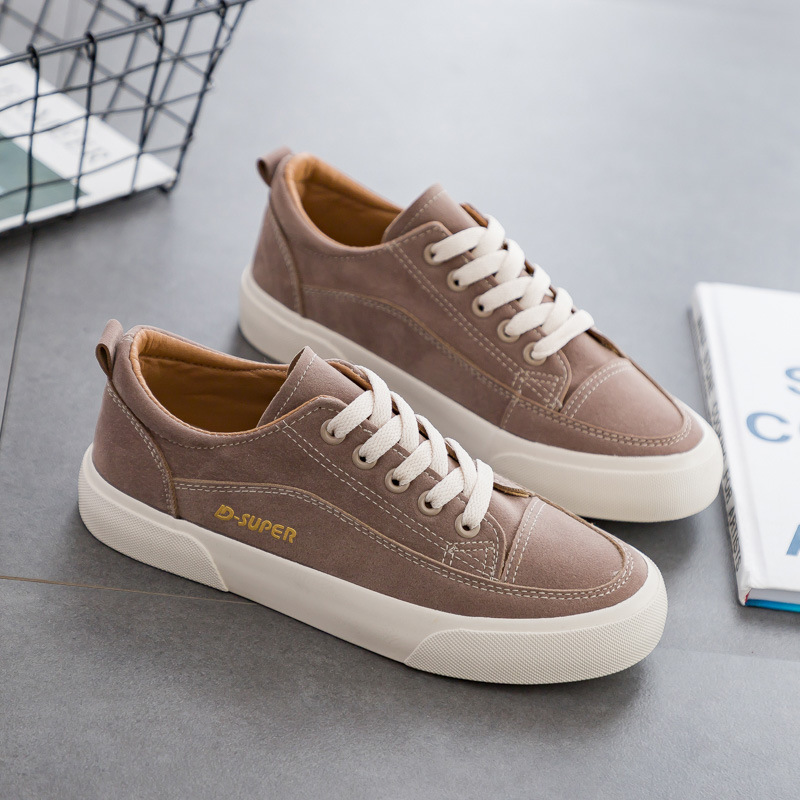 Woman Shoes 2019 New Fashion Casual Suede Leather Shoes Women Casual Breathable Soild Color Classic Black Ladies Shoes Sneakers