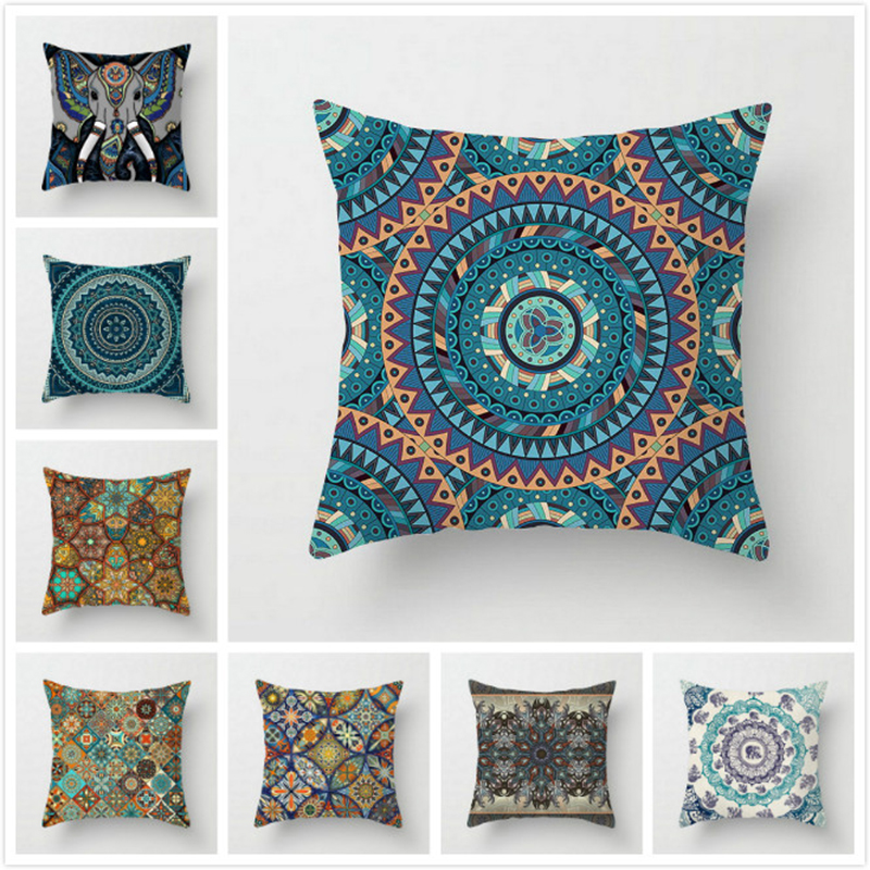 New Mandala Printed Pillow Case Cover Square 45cm*45cm Polyester Home Throw Pillowcase Decorative