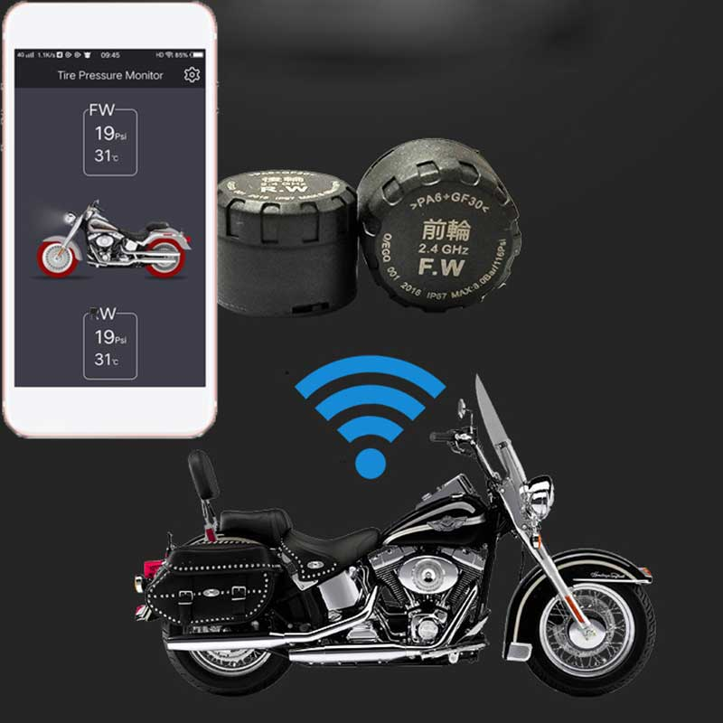 TPMS Bluetooth Motorcycles Tire Pressure Monitoring System Real Time Android APP Waterproof  Wireless External TH/WI Sensors