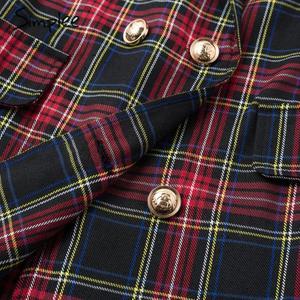 Image 5 - Simplee Streetwear כותנה משובץ שמלת אלגנטי טור כפתורים כפול ארוך שרוול שמלת משרד ליידי דש ישר סתיו קצר שמלה