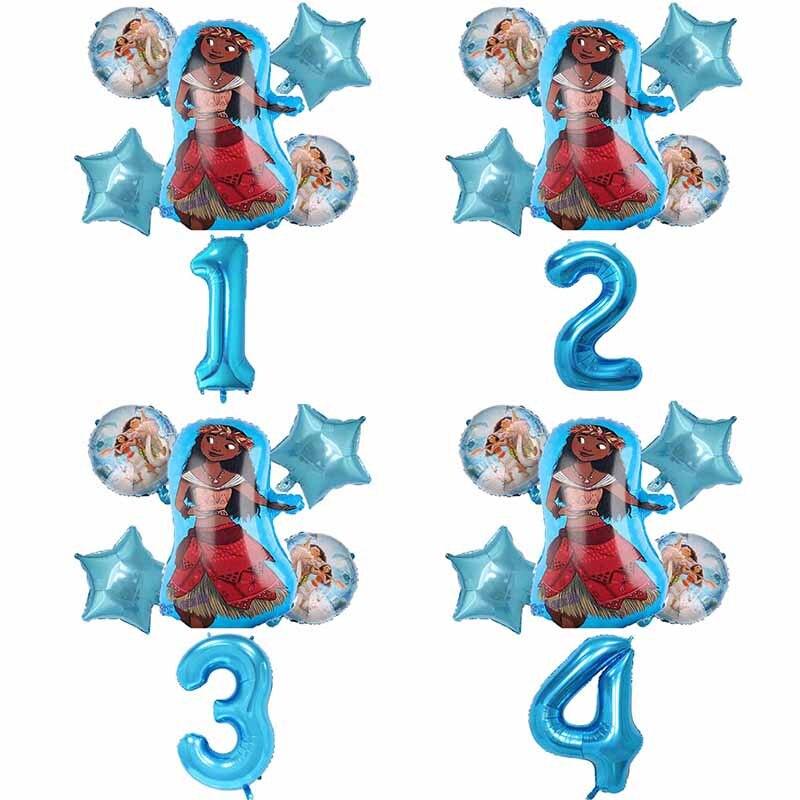 1 комплект воздушные шары Moana 32 дюймов синий шара с цифрой upplies Милая принцесса Моана тематическая вечеринка на день рождения украшения для д...