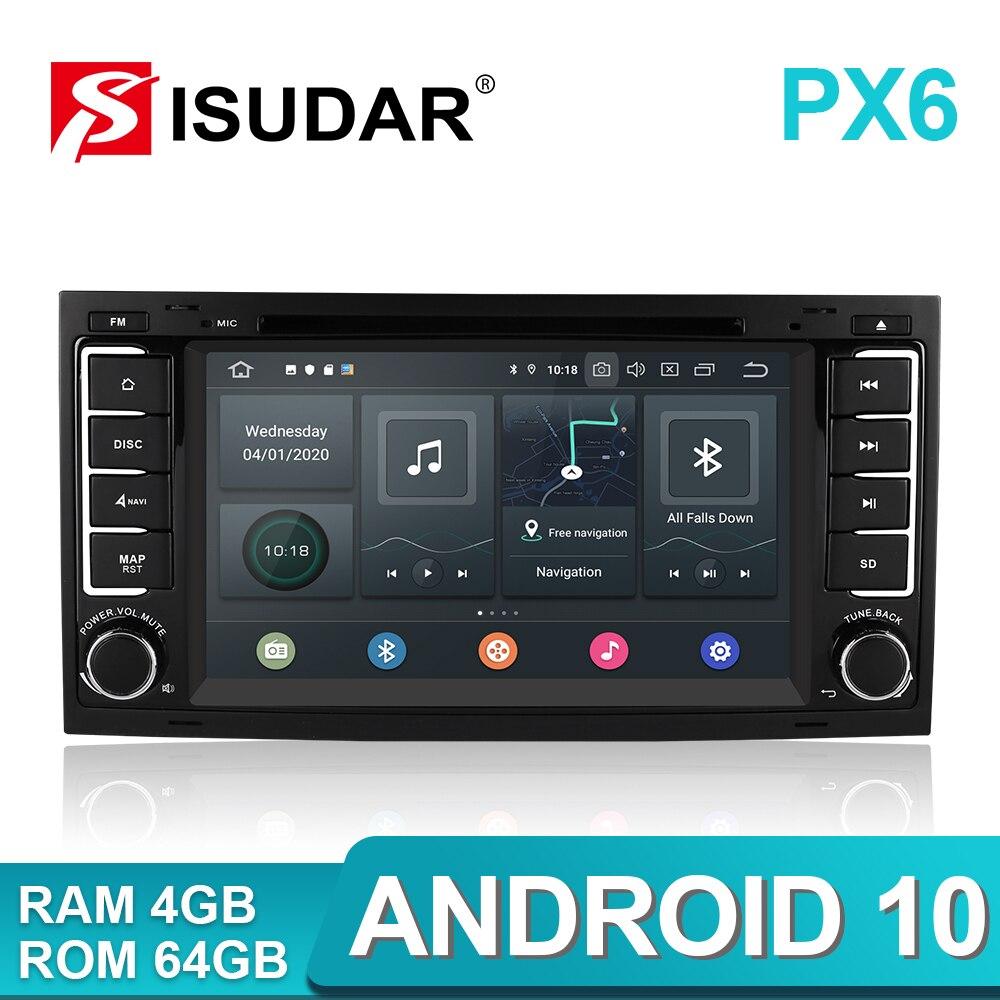 Автомагнитола Isudar PX6, мультимедийный видеоплеер на Android 10, с GPS, USB, видеорегистратором, ОЗУ 4 Гб, для VW/Volkswagen/Touareg Canbus, типоразмер 2 Din