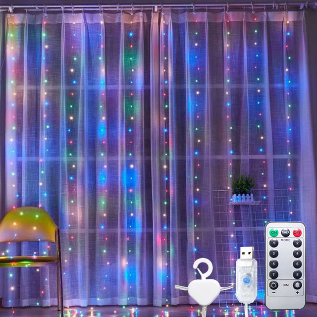 Details about  /Christmas Decorations For Home 3m 100//200//300 Led Curtain String Light Flash Fai