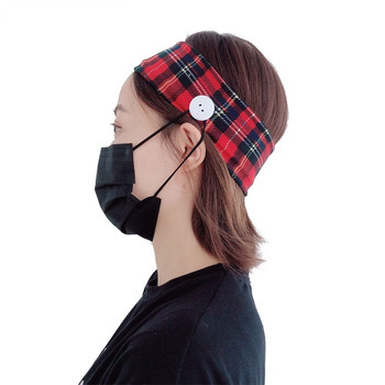 plaid mask partner customized anti-leak mask hair band bow elastic band hair band side button hair hoop female image