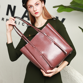 Burminsa Oil Wax Genuine Leather Women Handbags Ladies Large Capacity Laptop Work Bags High Quality Casual Shopper Shoulder Bags