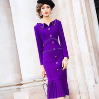 Runway 2020 NEW spring Solid Vintage Nail bead dress Warm wool dresses autumn Women winter Full sleeve The wrinkle Party Dress