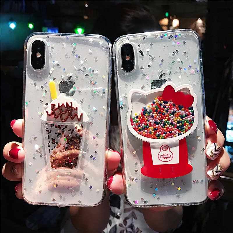 3D Pasir Warna Manik-manik Hello KT Kucing untuk Huawei P40 P30 P20 PRO PLUS 20 30 Pro Nove 3 4 5 6 6SE 7 7se 5i Pro Kasus