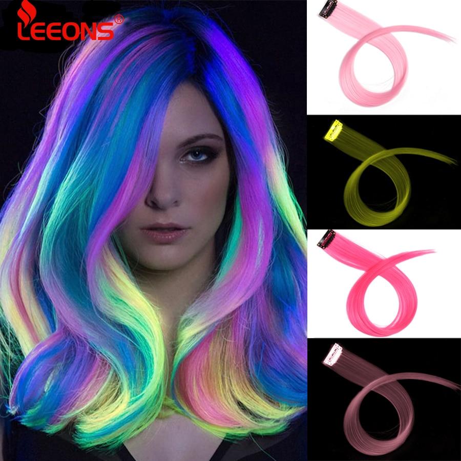 Leeons-extensiones de cabello sintético para fanáticos del deporte, extensiones de cabello sintético con Clip de una pieza, tiras de colores, 20