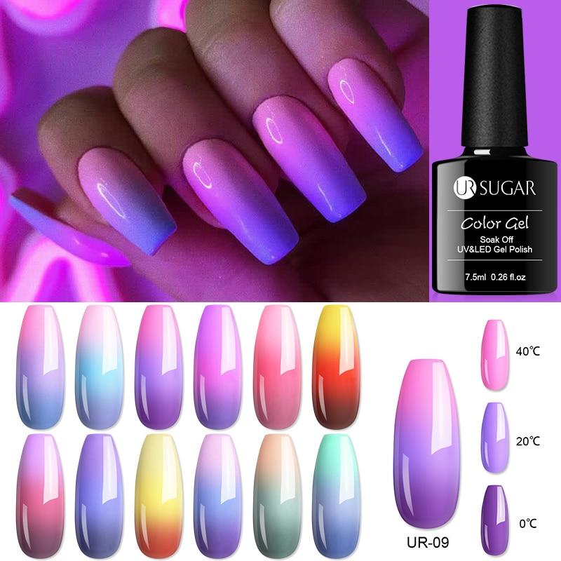 UR SUGAR 7.5ml termico a 3 strati cambia colore UV Gel Polish Shimmer Glitter smalto per unghie Soak Off Nail Art Gel smalti