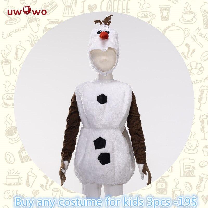 UWOWO Olaf Snowman Cosplay Costume Halloween Child Kid Boy Cosplay White Olaf Costume Snowman Cosplay