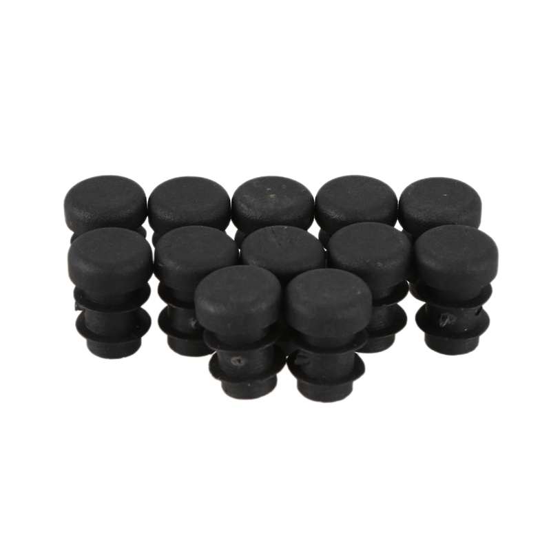 New 12 Pcs Plastic 12mm Pipe End Blanking Caps Bung Tube Insert Plug Round Black