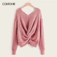 COLROVIE Plus Pearl Beaded Criss-cross Twist Sweater Women 2019 Fall Elegant Pink V neck Pullovers Long Sleeve Casual Sweaters(China)