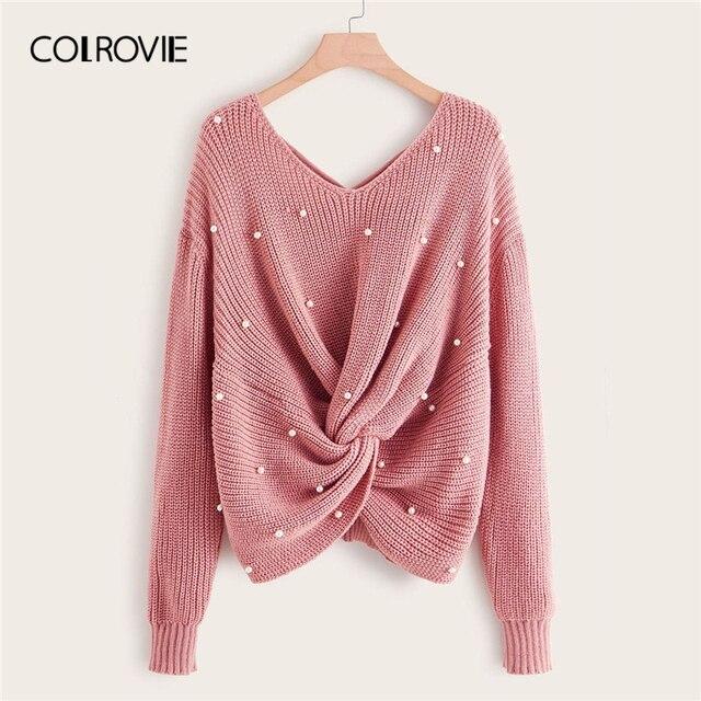 COLROVIE Plus Pearl zroszony na krzyż skręt sweter kobiet 2019 jesień elegancka różowy V neck swetry z długim rękawem na co dzień swetry