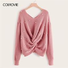 COLROVIE Plus perla con cuentas Criss cross Twist Sweater mujeres 2019 otoño elegante Rosa cuello en V manga larga Casual suéteres