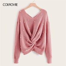 COLROVIE Plus perle perlé criss cross Twist pull femmes 2019 automne élégant rose col en V pulls à manches longues décontracté chandails