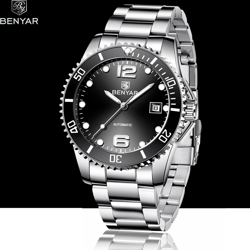 BENYAR 2019 New Men's Mechanical Watches Automatic Waterproof Watch Men Sport Military Watch Men Business Watches Reloj Hombre