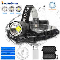 Super bright lumen Fishing Camping headlight XHP-70.2 led Headlamp High Power lantern Head Lamp Zoom Torches Use 18650 battery