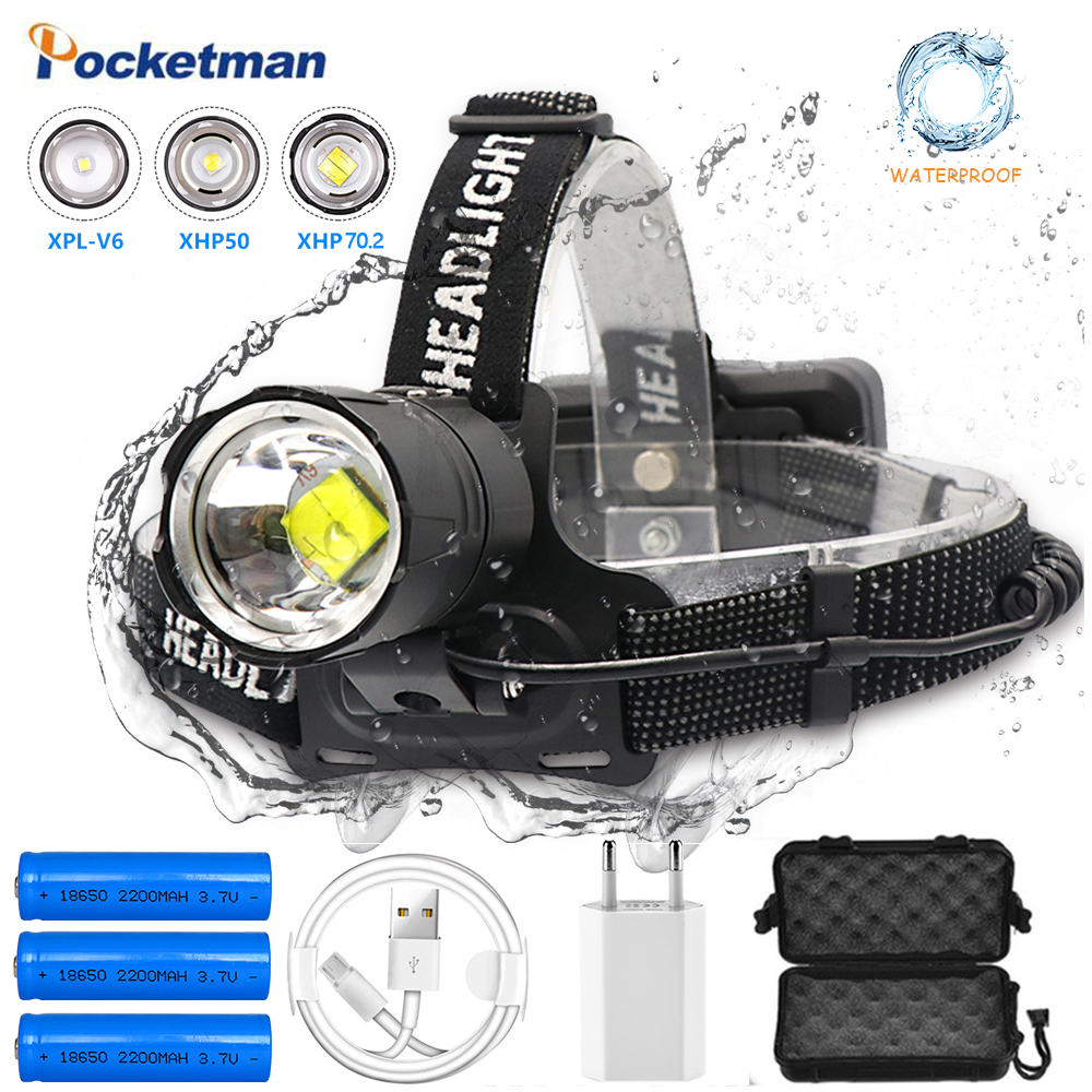 Super bright lumen Fishing Camping headlight  XHP-70 2 led Headlamp High Power lantern Head Lamp Zoom Torches Use 18650 battery