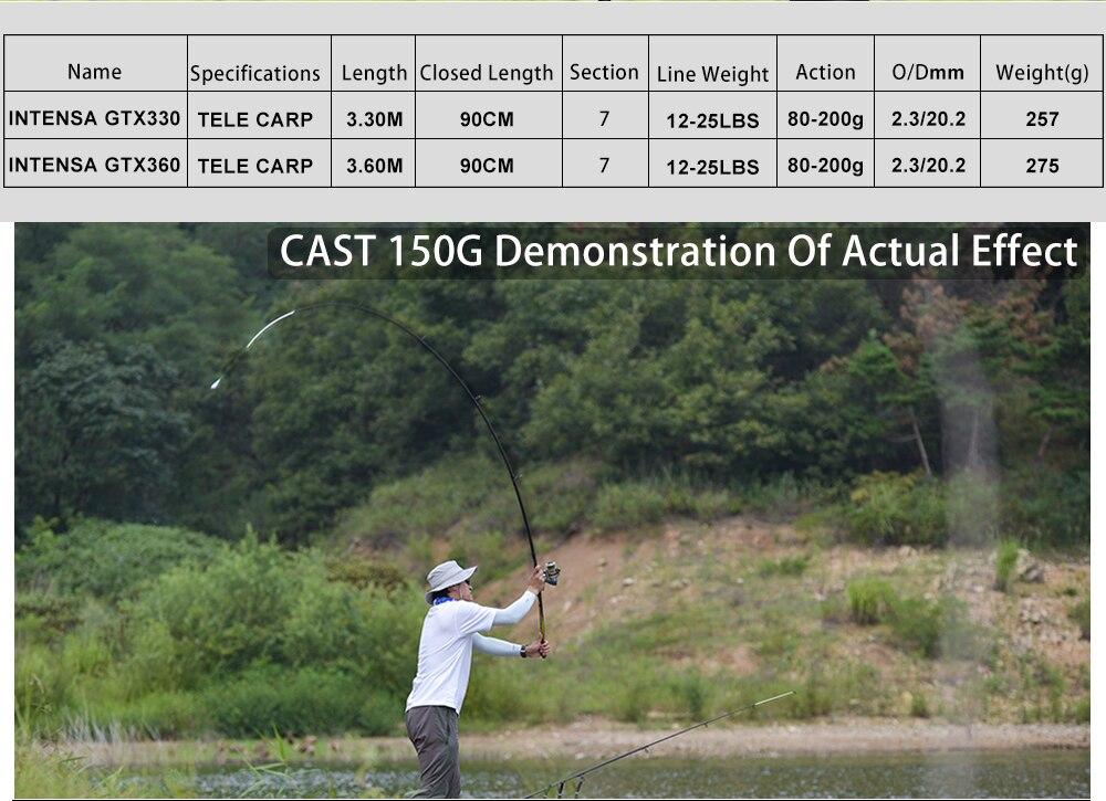 Obei carpa vara de pesca 3.3 3.6m