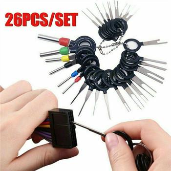 26 sztuk narzędzie do usuwania terminali samochodów elektryczne złącze zaciskane Pin Extractor narzędzia do usuwania złączy samochodowych Pin Extractor tanie i dobre opinie STAINLESS STEEL