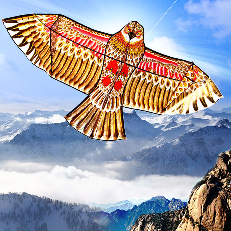 Уличные Детские летающие воздушные змеи в форме птиц, ветрозащитные игрушки, садовая скатерть, игрушки, 1,1 м, плоский Орел, воздушный змей, Большой Летающий птица, воздушный змей для детей