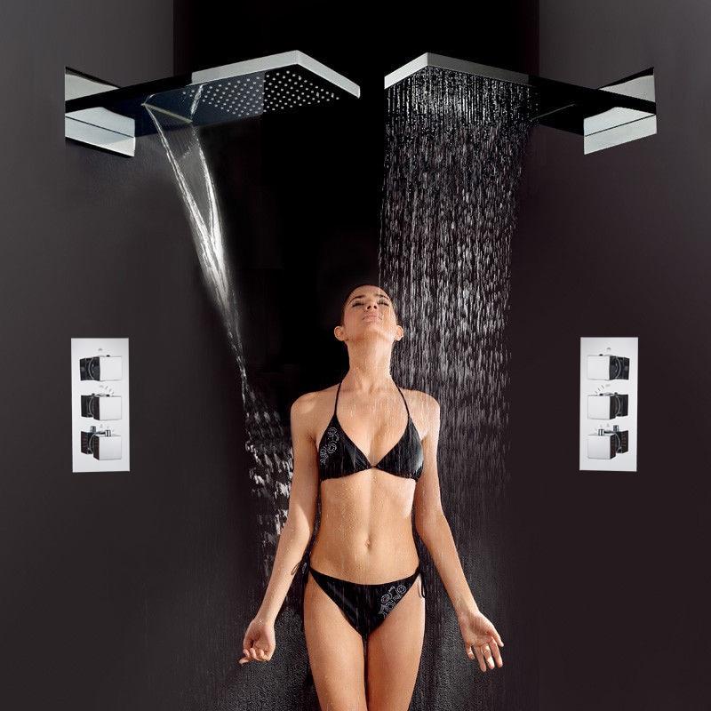 H87ff67170f654b0dbbb55cff90bc7d092 Matte Black Rain Waterfall Shower Set Thermostatic Mixer Bath Shower Mixer Tap 3 ways Shower Faucet Wall Mounted