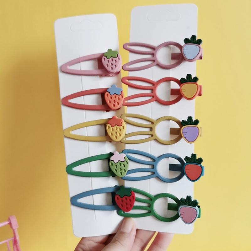 5PCS Lovely New Printed Cute Fruit Clips Candy Color Hair Pins Girls Hair Accessories Children Headwear Baby Hair Clips
