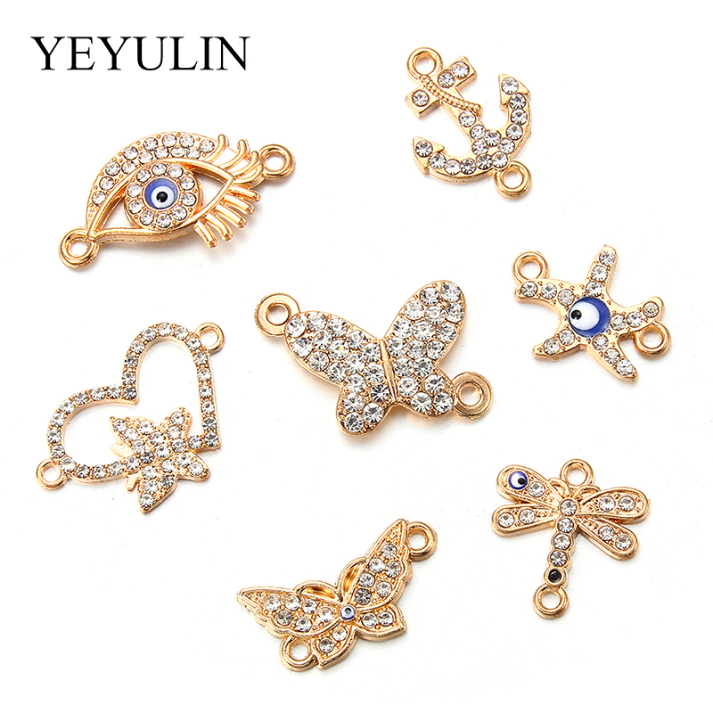 7pcs Mix Golden Rhinestone Connectors For Earrings Jewelry Making Bracelet Accessories Craft DIY Handmade Findings 7styles