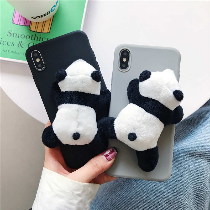 3D Cartoon DIY Plush Panda Soft Case For Samsung Galaxy S8 S9 S10 Plus Cover For Samsung Note 10 Pro 8 Note9 S10 Lite Cases