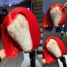 TOPODMIDO красный короткая стрижка Боб синтетические парики с детскими волосами 13X6 индийские Remy человеческие волосы Синтетические волосы на кр...