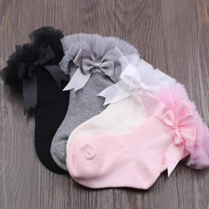 Детские кружевные носки на весну и осень, высокие носки до колена для новорожденных, хлопковые кружевные теплые гольфы для маленьких принце...