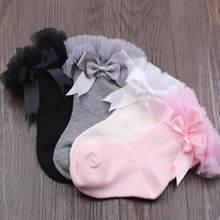 Crianças meias de renda primavera outono período recém-nascido da criança do joelho do bebê meias altas algodão princesa rendas legwarm joelho meias