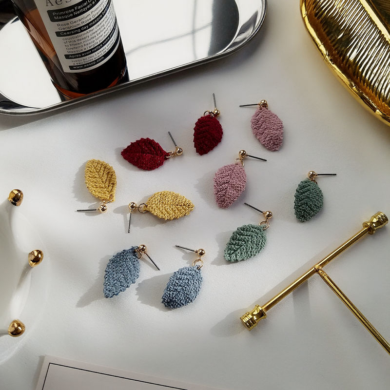 Timlee E252  Lovely Simple Flannelette Leaf  Drop Earrings  Fashion Accessories Wholesale