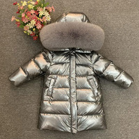 Children's down jacket girl's long down coat thick natural fox collar
