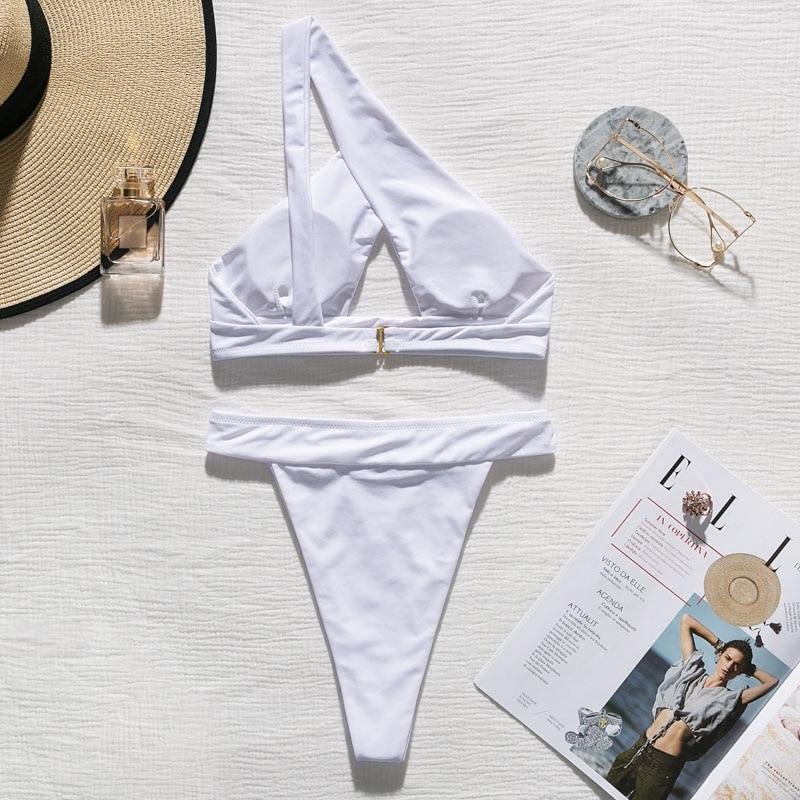 H87ffab02fa654d248afaa95300852955w In-X One shoulder bikini 2019 Buckle high cut swimsuit Sexy thong bikini Hollow out bathing suit White push up swimwear women