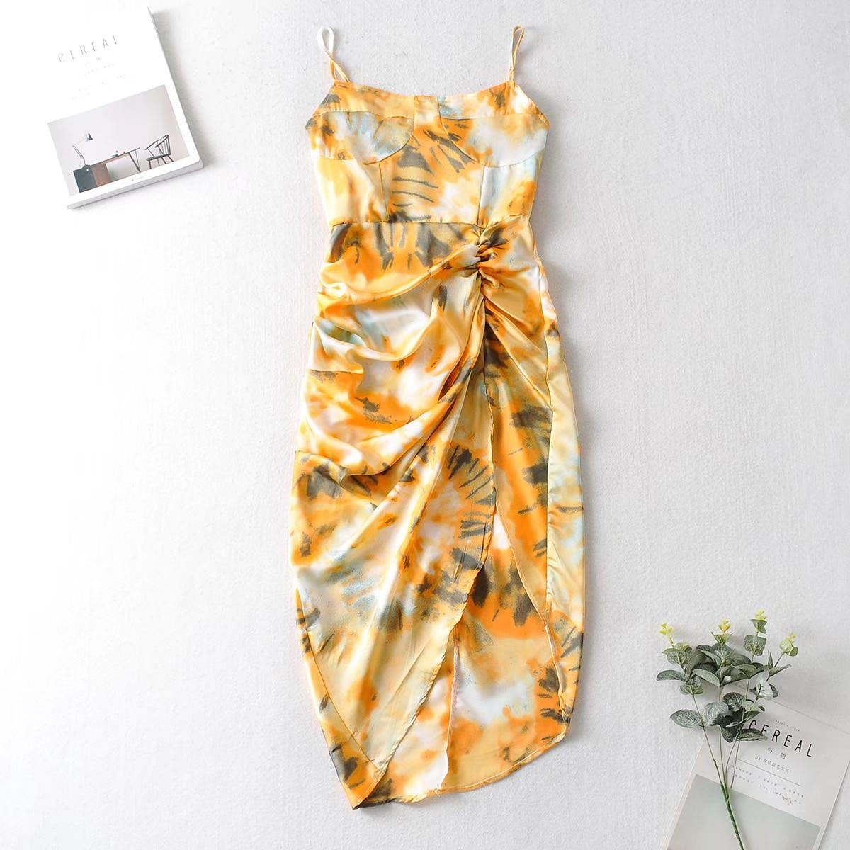 2020 Women Vintage Yellow Tie dye Flower print  Spaghetti Strap Dress Hem Slim Waist Slit Irregular Long Dresses Sling Vestido 9