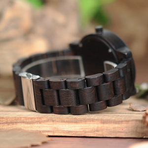Image 4 - BOBO BIRD Watch Men Relogio Masculino Simple Wristwatch Ebony Wood Japanese Movement Custom Text Christmas Gift to Husband Son