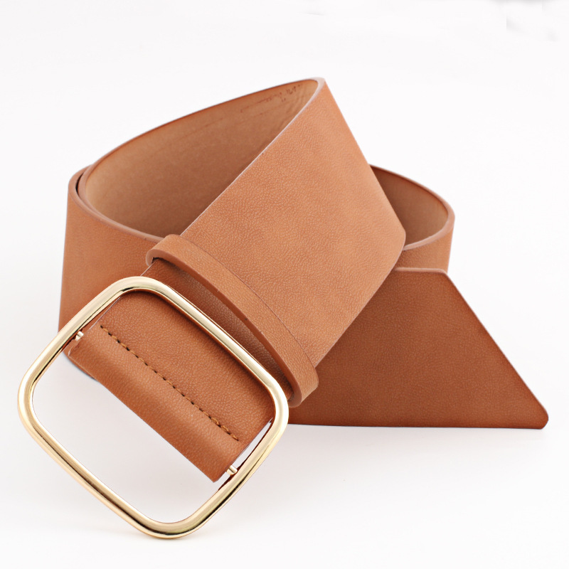 2020 All-match Waistband New Design Belts For Women Solid Black Leather Square Buckle Corset Belt Hot Sale Female Trendy ZK908