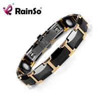 Rainso Black Ceramic Tungsten Steel Charm Magnetic Health Care Link Bracelets for Women with Gold color ORB 216 01BKG