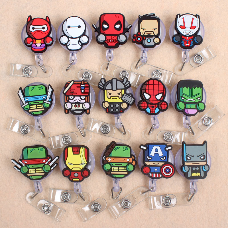 30 Kinds Soldier Heros Retractable Badge Holder Reel Exhibition Enfermera Students Girls Name PU Card Hospital Office Chest Card