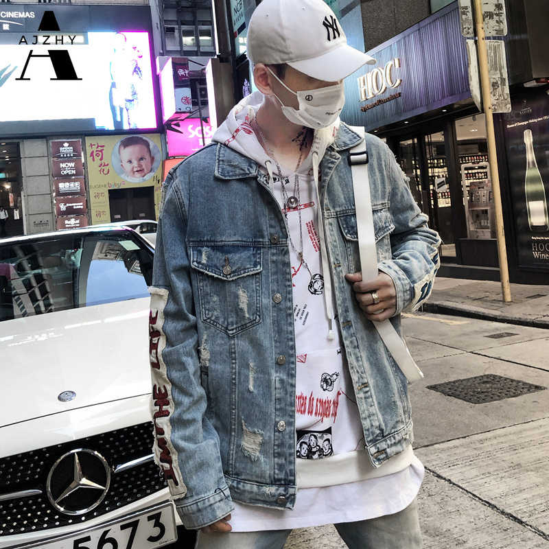 Mens Denim Jacket Streetwear Graffiti Hip Hop Casual Patchwork Ripped Distressed Punk Rock Vintage Jeans Jackets Coats Outwear