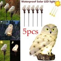 Luces solares de jardín con Panel Solar, 5 unidades, búho artificial, impermeables, adorno de búho, Lámparas de jardín de patio al aire libre