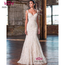 Cap Sleeves Pearls and Beading Embroidery Mermaid Wedding Dresses Sexy Backless Button Champagne Vestidos De Novia 2020 W0676